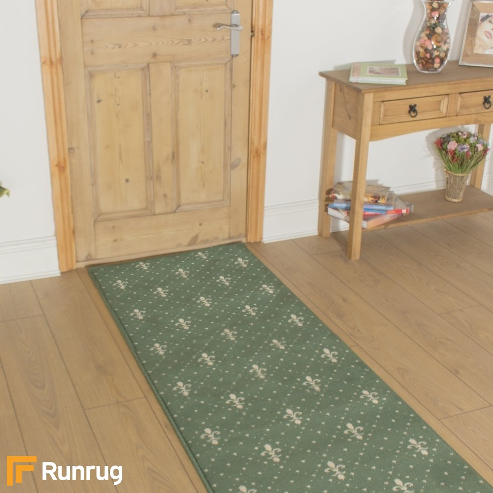 Crest Green Hallway Carpet Runner