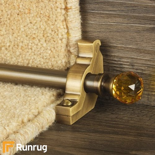 Crystal Antique Brass Finish Amber Plain Stair Carpet Runner Rods