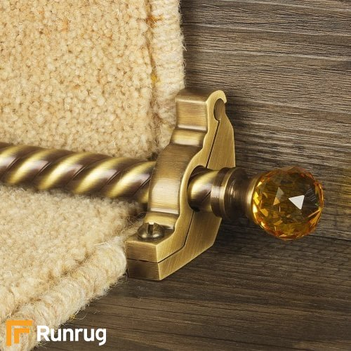 Crystal Antique Brass Finish Amber Spiral Stair Carpet Runner Rods