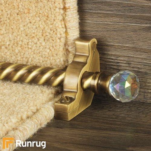 Crystal Antique Brass Finish Rainbow Spiral Stair Carpet Runner Rods