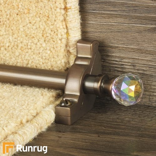 Crystal Antique Bronze Finish Rainbow Plain Stair Carpet Runner Rods