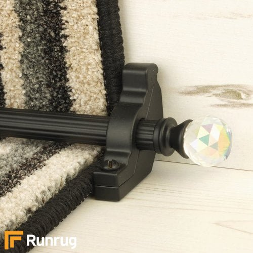 Crystal Black Finish Rainbow Reeded Stair Carpet Runner Rods