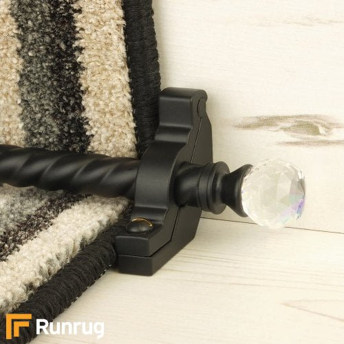 Crystal Black Finish Rainbow Spiral Stair Carpet Runner Rods