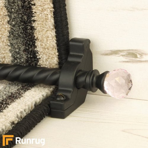 Crystal Black Finish Rose Spiral Stair Carpet Runner Rods