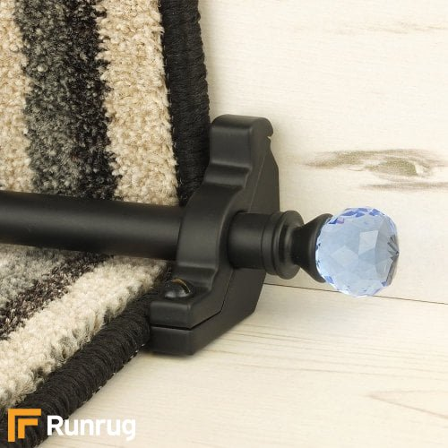 Crystal Black Finish Sky Plain Stair Carpet Runner Rods