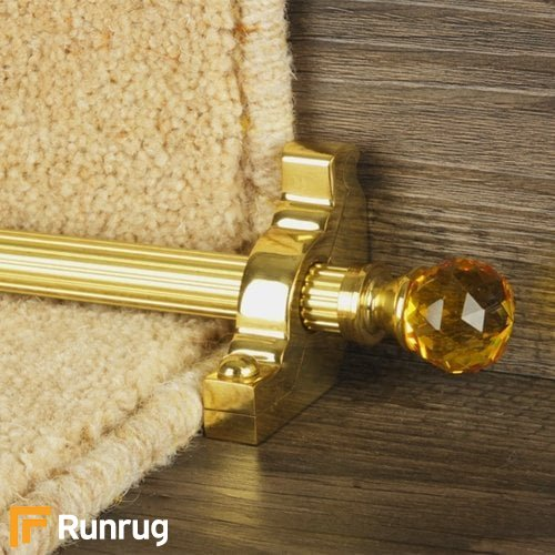Crystal Brass Finish Amber Reeded Stair Carpet Runner Rods