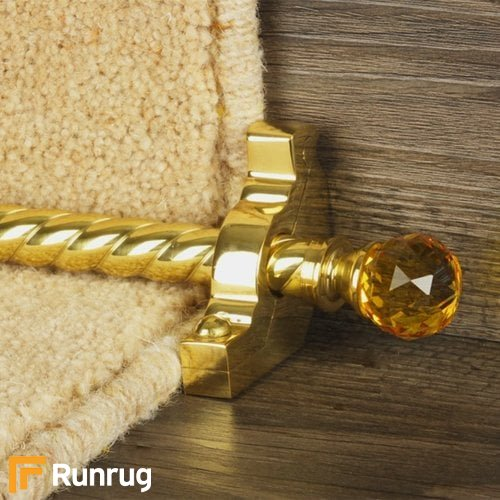 Crystal Brass Finish Amber Spiral Stair Carpet Runner Rods