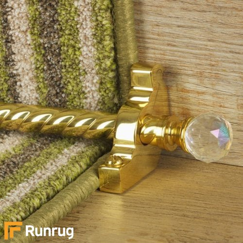 Crystal Brass Finish Rainbow Spiral Stair Carpet Runner Rods
