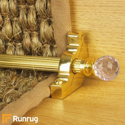Crystal Brass Finish Rose Reeded Stair Carpet Runner Rods