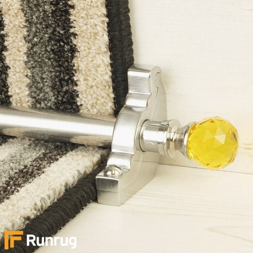 Crystal Brushed Chrome Finish Amber Plain Stair Carpet Runner Rods