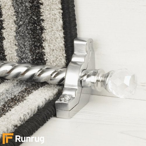 Crystal Brushed Chrome Finish Rainbow Spiral Stair Carpet Runner Rods