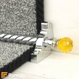 Crystal Chrome Finish Amber Spiral Stair Carpet Runner Rods