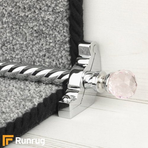 Crystal Chrome Finish Rose Spiral Stair Carpet Runner Rods