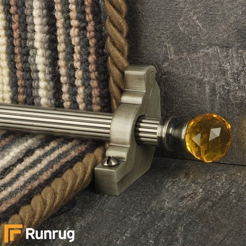 Crystal Pewter Finish Amber Reeded Stair Carpet Runner Rods