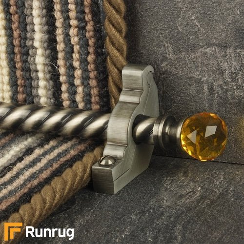 Crystal Pewter Finish Amber Spiral Stair Carpet Runner Rods