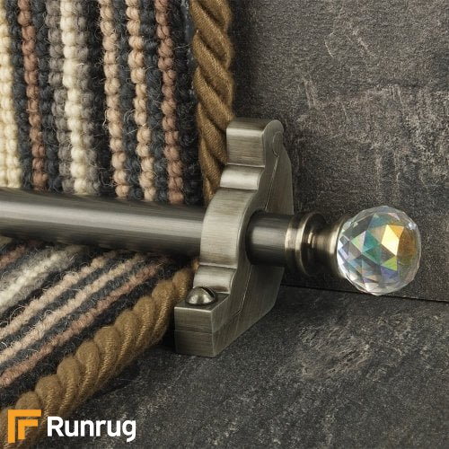 Crystal Pewter Finish Rainbow Plain Stair Carpet Runner Rods