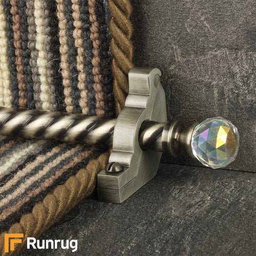 Crystal Pewter Finish Rainbow Spiral Stair Carpet Runner Rods