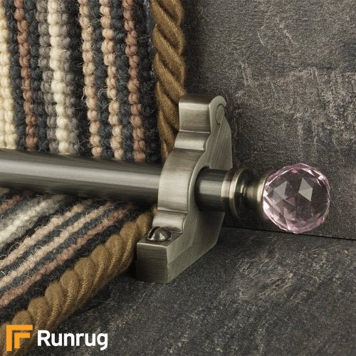 Crystal Pewter Finish Rose Plain Stair Carpet Runner Rods