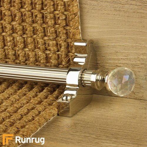 Crystal Polished Nickel Finish Rainbow Reeded Stair Carpet Runner Rods