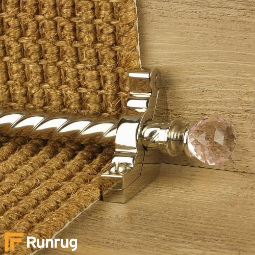 Crystal Polished Nickel Finish Rose Spiral Stair Carpet Runner Rods