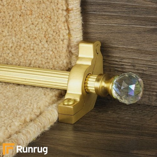 Crystal Satin Brass Finish Rainbow Reeded Stair Carpet Runner Rods