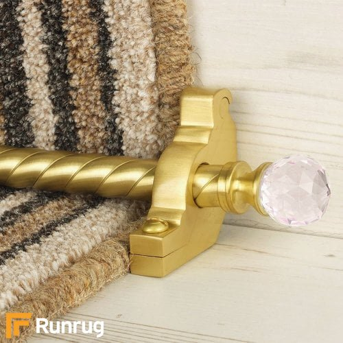 Crystal Satin Brass Finish Rose Spiral Stair Carpet Runner Rods