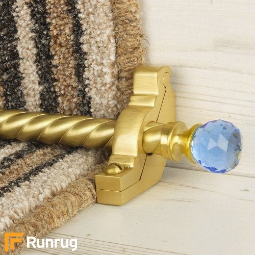 Crystal Satin Brass Finish Sky Spiral Stair Carpet Runner Rods