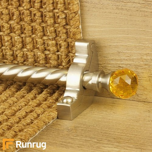 Crystal Satin Nickel Finish Amber Spiral Stair Carpet Runner Rods