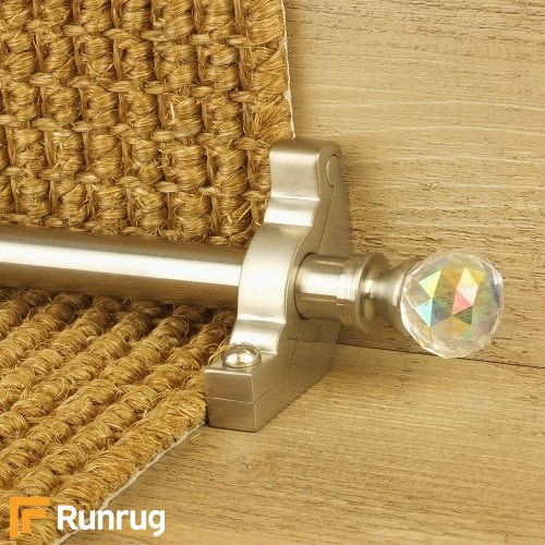 Crystal Satin Nickel Finish Rainbow Plain Stair Carpet Runner Rods