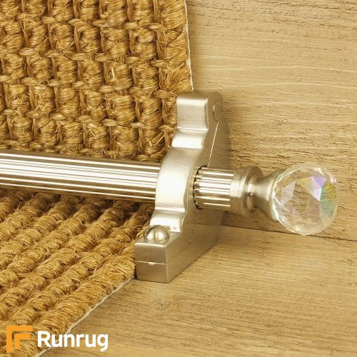 Crystal Satin Nickel Finish Rainbow Reeded Stair Carpet Runner Rods