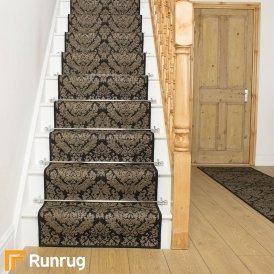 Damask Black Stair Runner