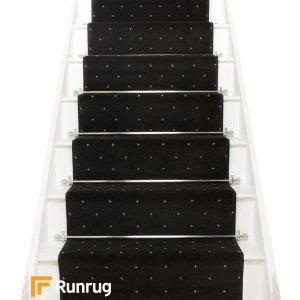 Dotty Black Stair Runner