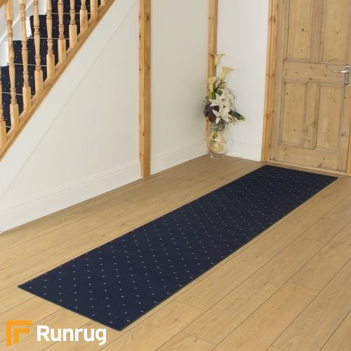 Dotty Navy Blue Hall Runner