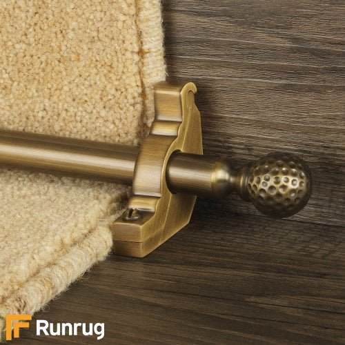 Eastern Promise Antique Finish Dune Plain Stair Carpet Runner Rods