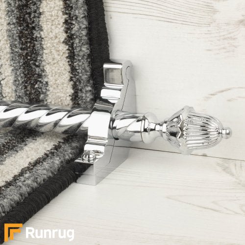 Eastern Promise Brushed Chrome Finish Dubai Spiral Stair Carpet Runner Rods
