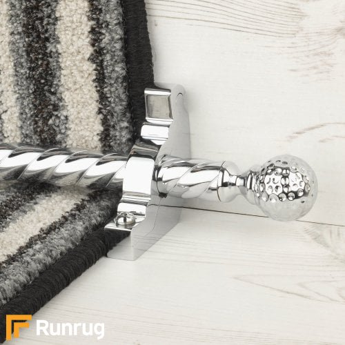 Eastern Promise Chrome Finish Dune Spiral Stair Carpet Runner Rods