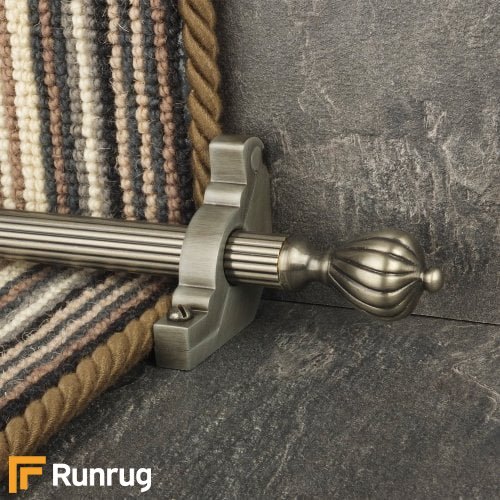 Eastern Promise Pewter Finish Cairo Reeded Stair Carpet Runner Rods