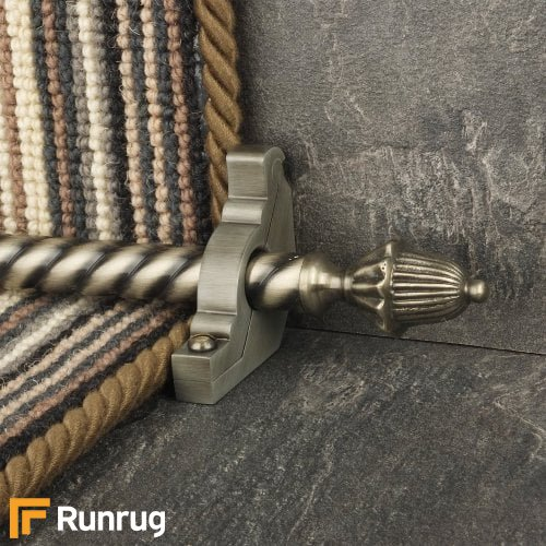 Eastern Promise Pewter Finish Dubai Spiral Stair Carpet Runner Rods