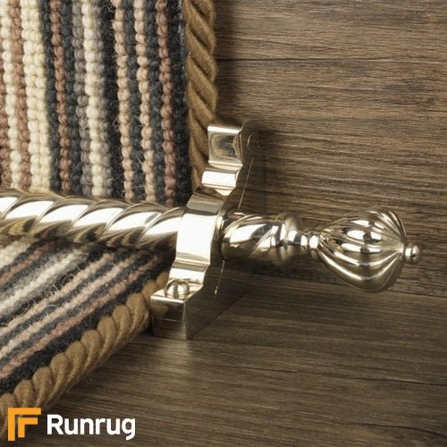 Eastern Promise Polished Nickel Finish Cairo Spiral Stair Carpet Runner Rods