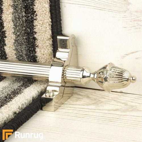 Eastern Promise Polished Nickel Finish Dubai Reeded Stair Carpet Runner Rods