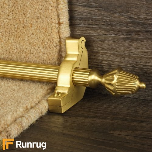Eastern Promise Satin Brass Finish Dubai Reeded Stair Carpet Runner Rods