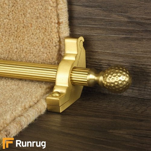 Eastern Promise Satin Brass Finish Dune Reeded Stair Carpet Runner Rods