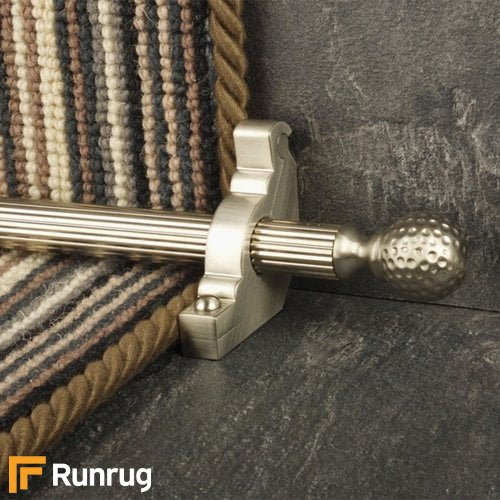 Eastern Promise Satin Nickel Finish Dune Reeded Stair Carpet Runner Rods