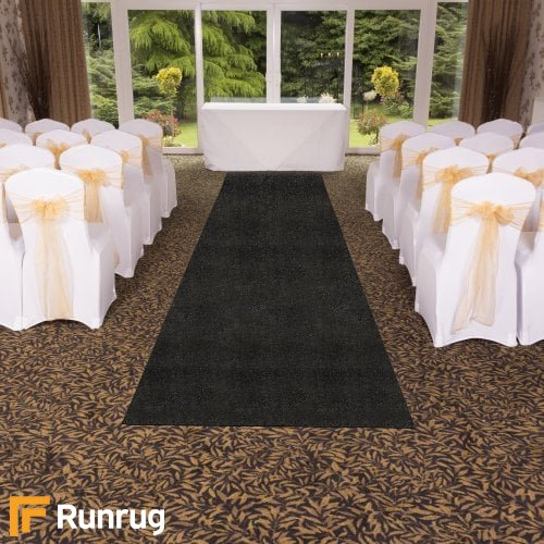 Eliza Glitter - Nero Wedding Aisle Carpet Runner