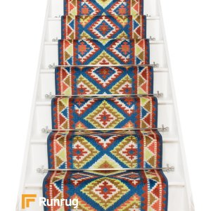 Ethnic Blue Stair Runner