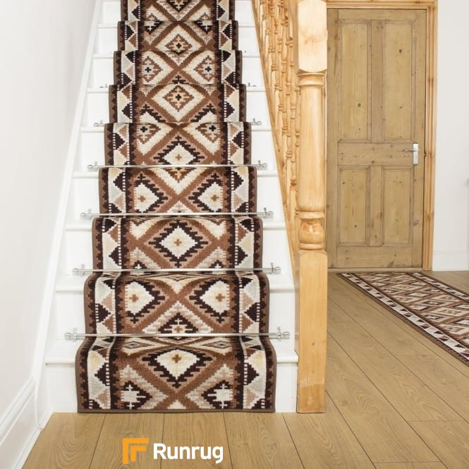 Ethnic Brown Stair Runner
