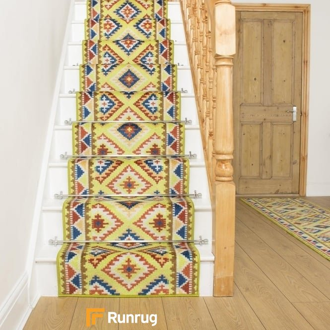 Ethnic Green Stair Runner