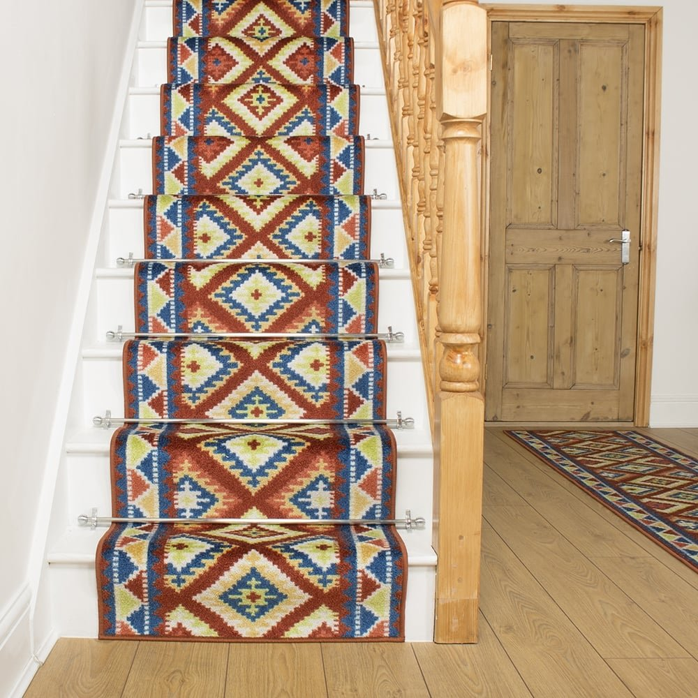 Rust Stair Runner Rug Ethnic