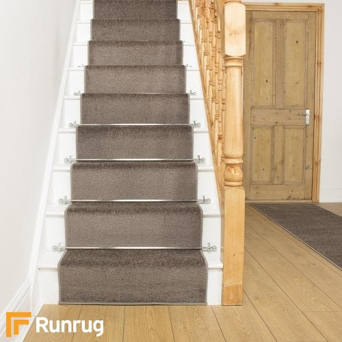 Festival Brown Plain Stair Runner