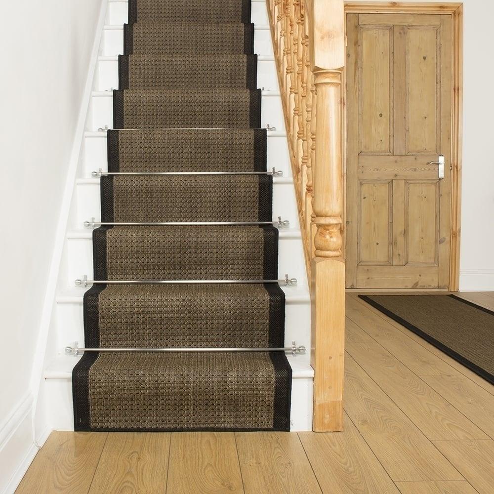 Black Stair Runner Rug Gingham